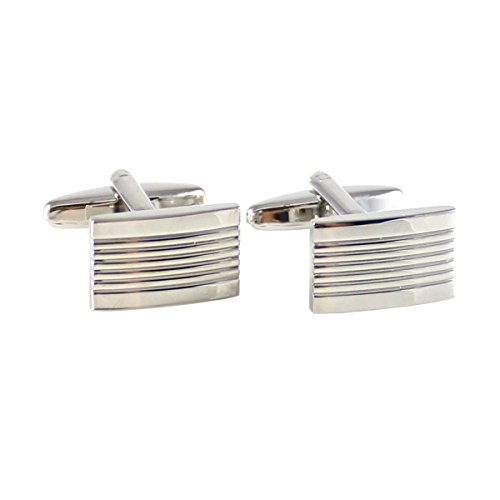 Mendepot Classic Rectangle Cuff Link In Box Rhodium Plated With Middle Lines Classic Cufflink - Rhodium Plated Classic Line