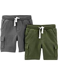 Boys' Toddler Multi-Pack Knit Shorts, Olive/Grey, 3T