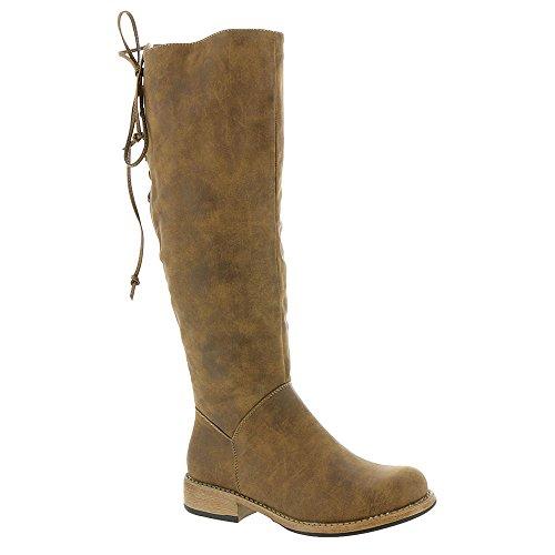 (Corkys Footwear Womens Ladies Ventura Distressed Knee High Waxy Calf 15 Top Cowgirl Boots 10 Brown)