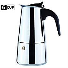 6-Cup Stovetop Espresso Maker Italian Moka Coffee Pot - Best Polished Stainless Steel Coffee Percolator with Permanent Filter and Heat Resistant Handle For Home and Office Use by WeHome