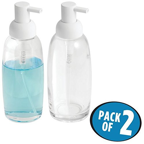 mDesign Liquid Hand Soap Glass Dispenser Pump Bottle for Kitchen, Bathroom | Also Can be Used for Hand Lotion & Essential Oils - Pack of 2, Clear/Matte - Glass Dish Soap Classic