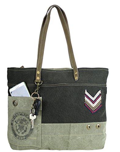 Sunsa Vintage Taschen , Cabas pour femme noir schwarz 50 x 36 x 10 cm
