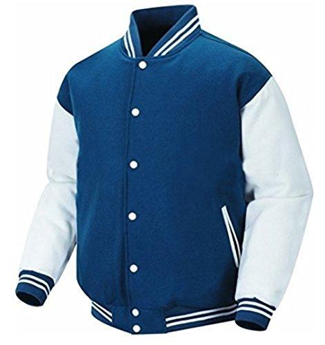 Original Windhound College Jacke mitternachts blau mit weißen Echtleder Ärmel XS