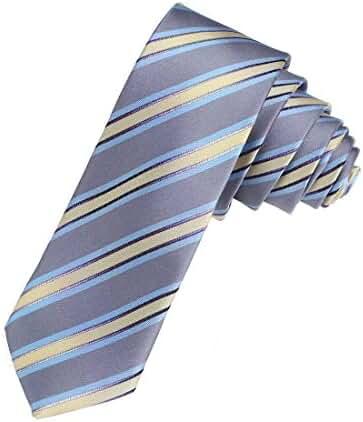 DAE7A01-03 Multicolors Groomsmen Woven Microfiber Stripe Skinny Tie By Dan Smith