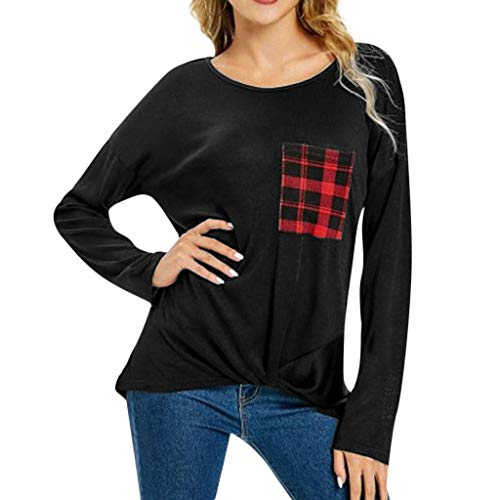 YKARITIANNA Women's T-Shirt with Long Sleeves Twisted in Plaid Pocket with Round Blouses 2019 Summer Black