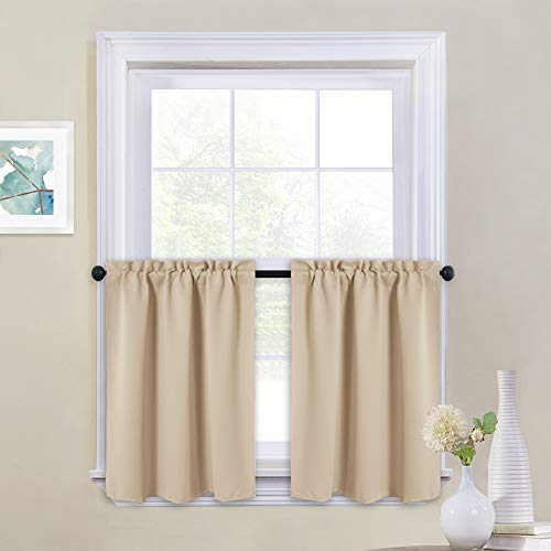 Cappucino Living Room Set - NICETOWN Short Room Darkening Drapes - Functional Thermal Insulated Window Treatment Valances & Tiers (2 Panels, 29W by 24L Inches, Biscotti Beige)