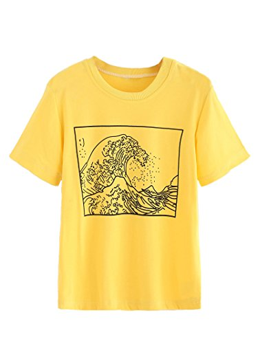 Romwe Women's Short Sleeve Top Casual The Great Wave Off Kanagawa Graphic Print Tee Shirt Yellow L from Romwe