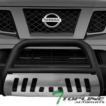 Topline Autopart Matte Black Bull Bar Brush Push Front Bumper Grill Grille Guard With Brush Aluminum Skid Plate For 05-17 Nissan Frontier ; 05-07 Pathfinder ; 05-15 Xterra
