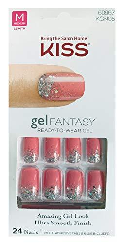 KISS GEL FANTASY KGN05 (FRESHEN UP) OVAL Medium Design Nails w/Adhesive Tabs & Glue
