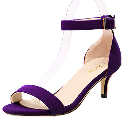 Purple Mid Heel - ZriEy Women Sexy Open Toe Ankle Straps Low Heel Sandals Velvet Purple Size 8/38.5M EU