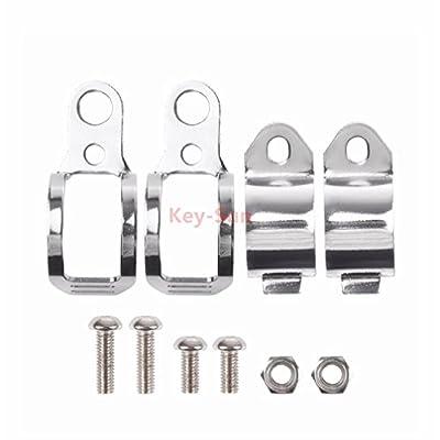 Sun-Key 1pair Retro Motorcycle Universal Modified Turn Signal Light Bracket Fork Mount Clamp Indicator Holder 30-45mm (Chrome): Automotive