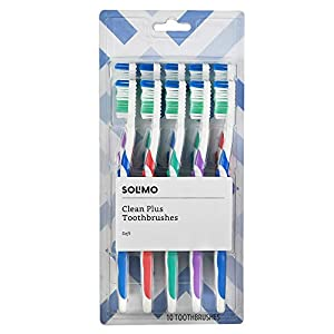 Best Epic Trends 41ll9dfxpqL._SS300_ Amazon Brand - Solimo Clean Plus Toothbrushes, 10 Count