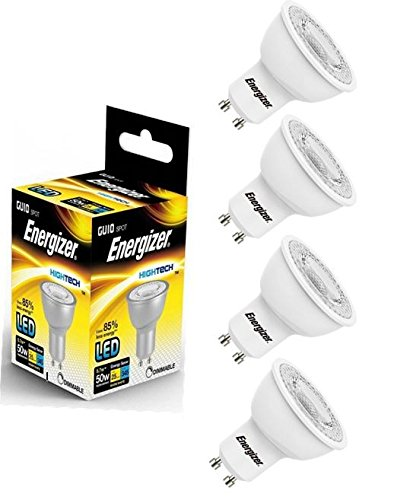4x GU10Ampoule LED lampe spot 345lm Energizer 5.7W = 50W Blanc chaud 3000K 36° avec variateur d'intensité
