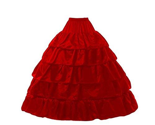 KekeHouse? Petticoat Tutu En Tulle De Femme Rockabilly 4 cerceaux Longue De marie Jupon Pour robes de marie Rouge