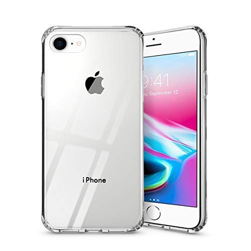 Weuiean iPhone 7 8 Case, Metal Level Anti-Scratch, Rugged Tempered Glass Back Case, Crystal Clear Cover with Soft TPU Bumper Frame Protection for iPhone 7 8 4.7 Inches (Transparent)