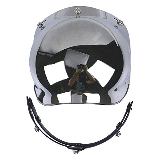 Helmet Silver Shield (Motorcycle Helmet Bubble Shield with Flip Adapter (Silver))