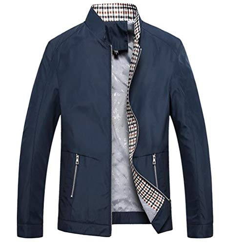 Sunhusing Men Autumn Winter Thin Solid Color Stand Collar Zip Pocket Plaid Lining Outwear Jacket Coat -