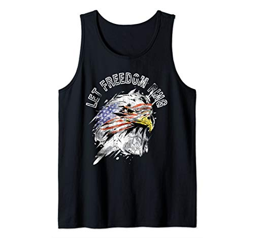 Patriotic American Bald Eagle US Flag Let Freedom Ring Quote Tank Top ()