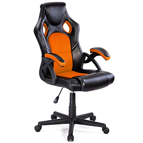 Giantex Executive Racing Office Gaming Chair Ergonomic Leather Style Bucket Seat Computer Desk Task Reclining Gaming Chair (Orange) Giantex