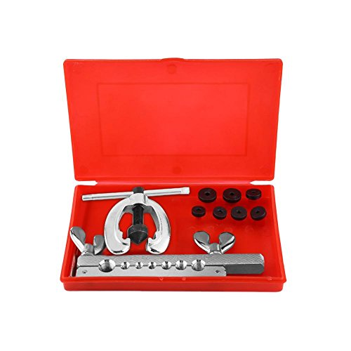 9pcs Flaring Tool Kit, Double Flaring Tool Pipe Tube Repair Flare Includes Clamp Spreader Dies (Rigid Double Flaring Tool)