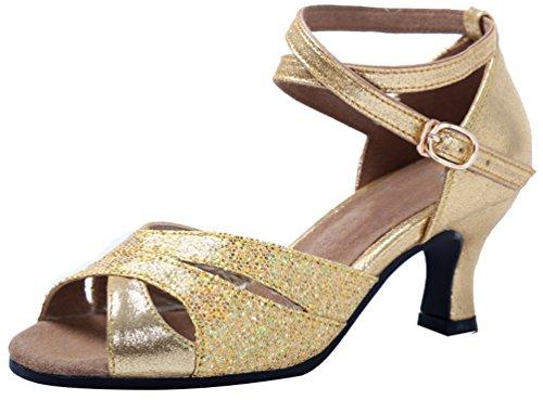 Abby 591 Womens Masquerade Charming Peep Toe Mid Heel Relaxing Modern Latin Cha-Cha Tango Rumba Dance Shoes Golden YsHfU
