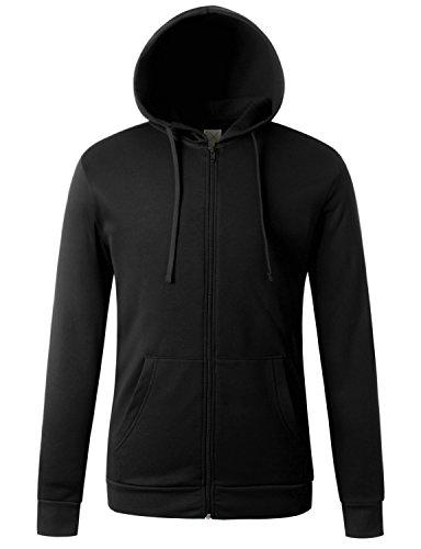 Mens Microfleece Jacket - Regna X for Men Zip up Hoodie Work Out Black Large Fleece Jackets