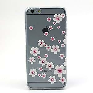 YULIN flores de color rosa melocotón patrón TPU caso de la cubierta del diamante de alivio para el iphone 6 más