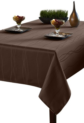 Benson Mills Gourmet Spillproof Fabric Tablecloth, Chocolate, 60-inch by 84-inch by Benson Mills