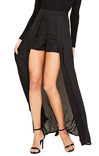 WANEE Women's Black Overlay Short Dress Pants Maxi Skirt Attached Shorts Pants (X-Large)