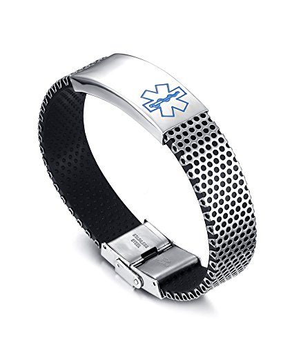 Free Engraving-Stainless Steel ID Tag Rubber Medical Alert Wristband Bracelets for ()