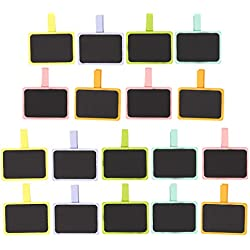Mini Chalkboard Clips – 18-Pack Wooden Chalkboard Tags, Chalk Board Sign with Clothespin Clip, Wooden Clips for Weddings, Table Place Cards, Food Name Labels, 6 Colors, 3 of each, 2.5 x 1.6 Inches