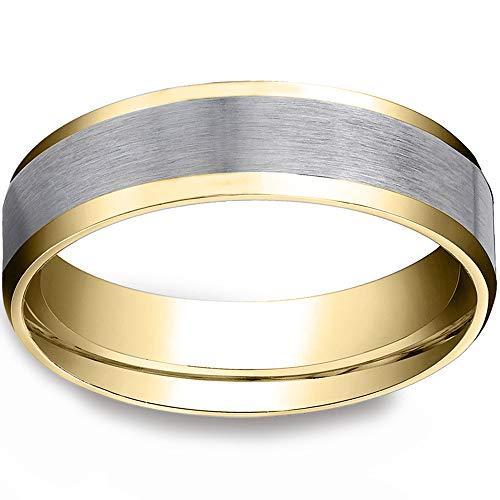 Mens 10k Gold 6MM Satin Wedding Band Flat Beveled Edge Two Tone Ring - Size 12
