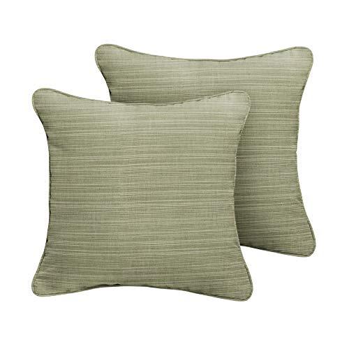 - 1101Design Sunbrella Dupione Laurel Decorative Indoor/Outdoor Square Throw Pillows, Perfect for Patio Décor - Textured Green 20