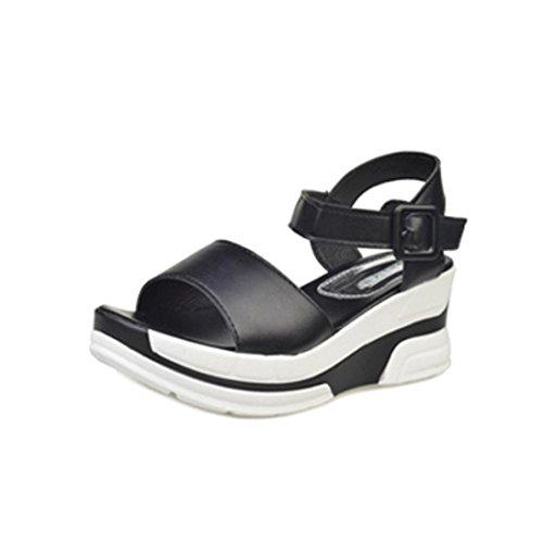 Sandalias para Mujer, RETUROM Zapatos de tacón bajo romano del verano del verano de las mujeres pío-dedo del pie Negro