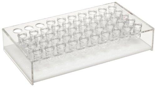 "Dynalon 159545-1 Acrylic Lab Sample Cup Rack, 8.25"" Length x 4.5"" Width x 1.5"" Height, 50 Place"