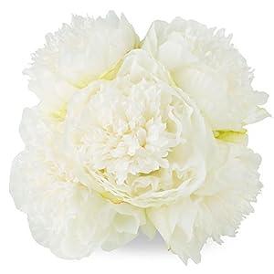 Silk Peony Bouquet 5 Heads Milk White SOLEDI Artificial Fake Flower Bunch Bouquet Bridal Bouquet Wedding Living Room Table Home Garden Decoration 61