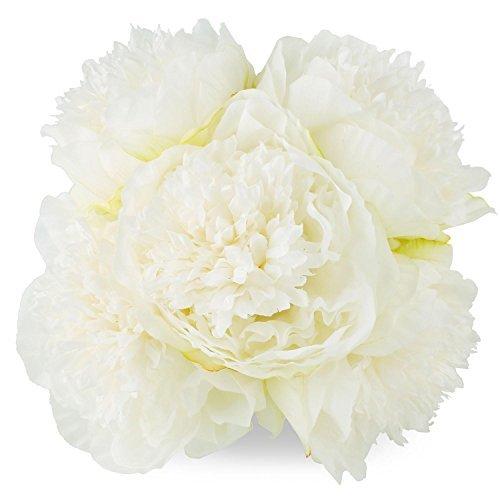 (Silk Peony Bouquet 5 Heads Milk White SOLEDI Artificial Fake Flower Bunch Bouquet Bridal Bouquet Wedding Living Room Table Home Garden Decoration)