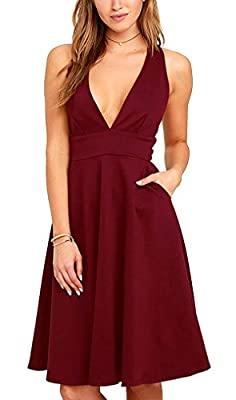 Hibluco Women's Deep V-neck Sleeveless A-line Dress Sexy Party Dresses with Pockets