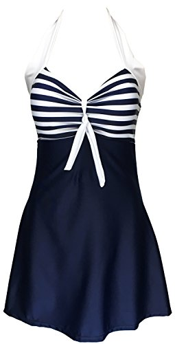 Danify Vintage Sailor Pin Up Swimsuit One Piece Skirtini Cover Up Swimdress, Navy Blue, XXXL(US16)