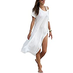 Women's Baggy Swimwear Bikini Cover-UPS/Beach Dress/Night T-Shirt(FBA) (Free Size, Ivory White)