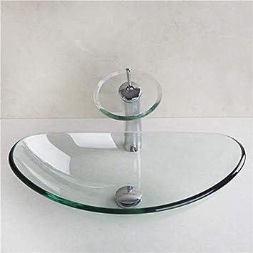 HomeLava Lavabo Vasque en Verre Trempé Transparent, avec Robinet Cascade à  poser la salle de bain