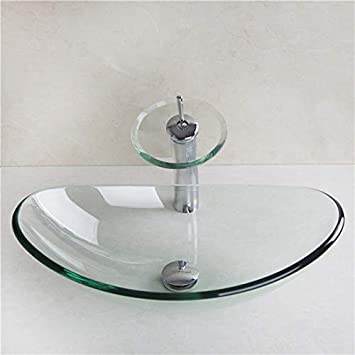Vasque Transparente Salle De Bain.Homelava Lavabo Vasque En Verre Trempe Transparent Avec Robinet Cascade A Poser La Salle De Bain