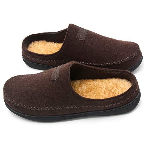 Zigzagger Men's Suede Moccasin Slippers Memory Foam Slip On Clog House Shoes Indoor Outdoor, Dark Coffee, 11-12 D(M) US