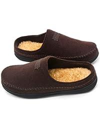 Men's Wool Microsuede Moccasin Slippers Memory Foam House...
