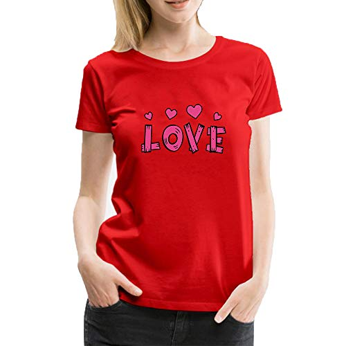 (Women's Short Sleeves Cotton T-Shirts Creative Love Heart Fashion Designer Casual Blouse Tops Red)