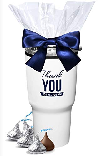 12 Piece White Thank You Tumblers with Hershey Chocolate Kisses/Admin Office Gifts/Holiday Hershey Gift Mug/Teacher Appreciation Gift/Corporate Thank You Gift/Nurse's Day Gifts/Employee Appreciation Gifts by CGS BRANDING (Image #1)