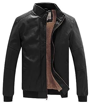 WenVen Men's Winter Fashion Faux Leather Jackets at Amazon