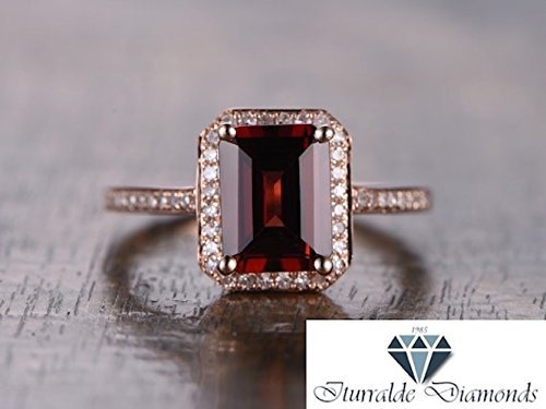 14k Emerald Cut Garnet Diamond Pave Halo Engagement Ring