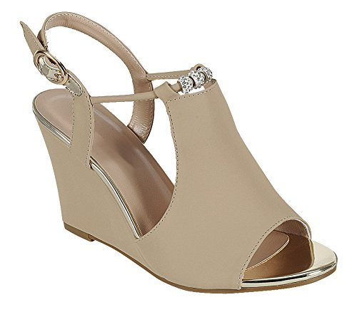 Cambridge Select Dames Open Teen Slingback Enkelband Strappy Kristal Strass Kraal Wig Sandaal Taupe