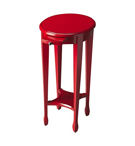 (Home Decorative Handcrafted Solid Hardwood Red Light Round Accent Table with Lower Shelf and Pull-Out)